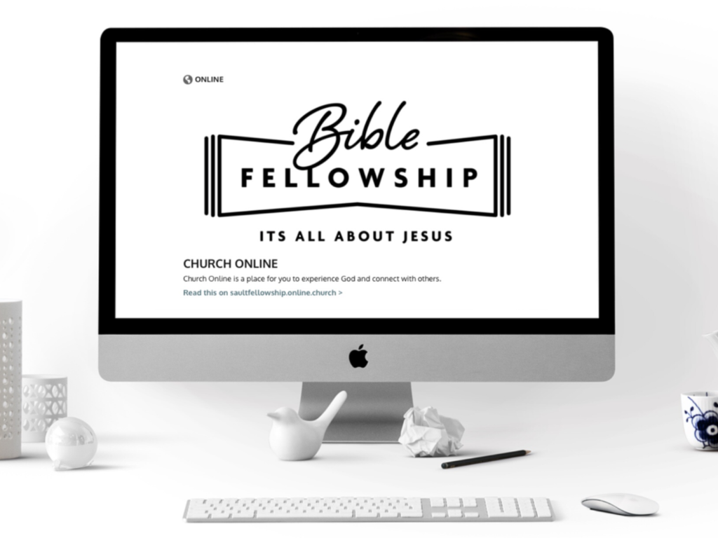 Computer Showing Bible Fellowship Online Webpage